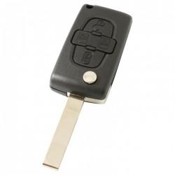 Peugeot 4-knops klapsleutel - sleutelbaard recht met inkeping zijkant - batterij in behuizing