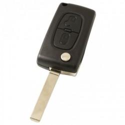 Citroën 2-knops klapsleutel - sleutelbaard recht - batterij op chip