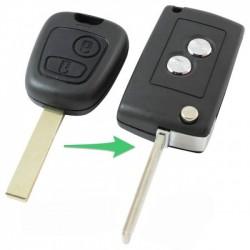 Peugeot 2-knops klapsleutel - sleutelbaard met inkeping zijkant (ombouwset)