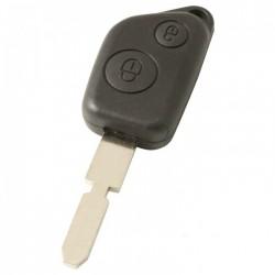 Peugeot 2-knops sleutelbehuizing - sleutelbaard punt met inkeping midden
