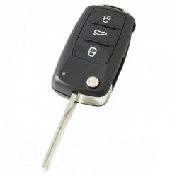 Skoda 3-knops klapsleutel - sleutelbaard recht met inkeping zijkant (nieuw model)
