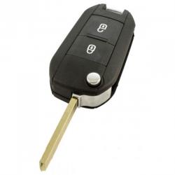 Peugeot 2-knops klapsleutel - sleutelbaard recht (nieuw model)