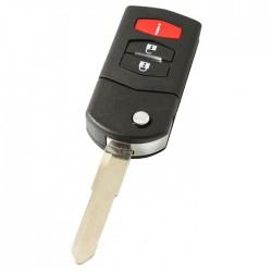 Mazda 2-knops klapsleutel met paniek knop - sleutelbaard punt met inkeping rechts