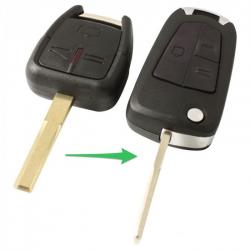 Opel 3-knops klapsleutel - sleutelbaard recht met inkeping - batterij op chip (ombouwset)