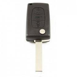 Citroën 3-knops klapsleutel - sleutelbaard recht met inkeping zijkant - batterij in behuizing - drukknop voor kofferbak