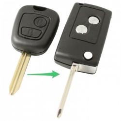 Citroën 2-knops klapsleutel - sleutelbaard kruis met punt (ombouwset)