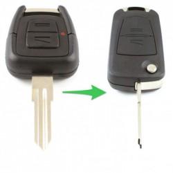 Opel 2-knops klapsleutel - sleutelbaard punt met inkeping rechts  (ombouwset)