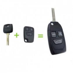 Volvo 3-knops klapsleutel - sleutelbaard recht met inkeping (ombouwset)