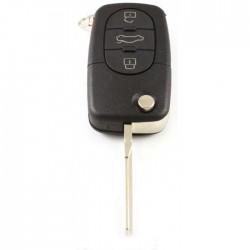 Volkswagen 3-knops klapsleutel met paniek knop en ronde drukknoppen - sleutelbaard inkeping zijkant