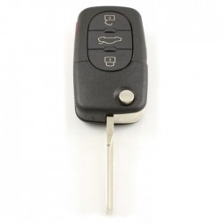 Audi 3-knops klapsleutel met paniek knop - sleutelbaard recht - uitvoering CR1616 batterij