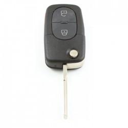 Audi 2-knops klapsleutel met paniek knop - sleutelbaard recht - uitvoering CR2032 batterij