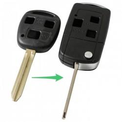 Toyota 3-knops klapsleutel - sleutelbaard punt met inkeping links (ombouwset)