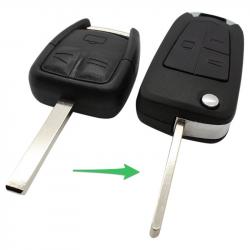 Opel 3-knops klapsleutel - sleutelbaard recht - batterij op chip (ombouwset)