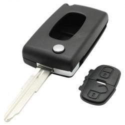 Peugeot 2-knops klapsleutel - sleutelbaard punt met inkeping rechts - batterij op chip