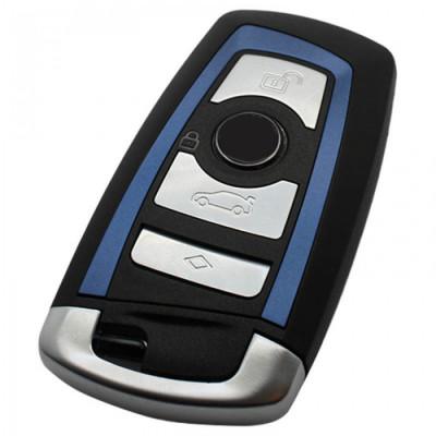 BMW 4-knops Smart Key Behuizing (blauwe striping) - voor o.a. 5-serie en 7-serie