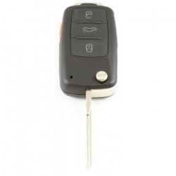 Volkswagen Touareg 3-knops klapsleutel met paniek knop - sleutelbaard recht met inkeping zijkant