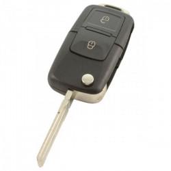 Skoda 2-knops klapsleutel met paniek knop - sleutelbaard recht met inkeping zijkant