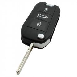 Peugeot 3-knops klapsleutel - sleutelbaard recht met inkeping zijkant