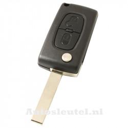 Peugeot 2-knops klapsleutel - sleutelbaard recht met inkeping zijkant met elektronica 433MHZ - ID46 transponder - batterij op chip