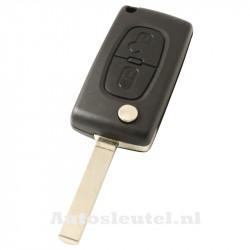 Peugeot 2-knops klapsleutel - sleutelbaard recht met elektronica 433MHZ - PCF7941 transponder - batterij op chip