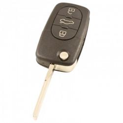 Volkswagen 3-knops klapsleutel - sleutelbaard recht met inkeping met elektronica 433MHZ - ID46 transponder - 1J0959753B