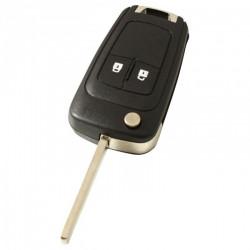 Opel 2-knops klapsleutel - sleutelbaard recht met elektronica 433MHZ - ID46 transponder