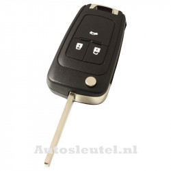 Opel 3-knops klapsleutel - sleutelbaard recht met elektronica 433MHZ - ID46 transponder