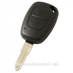 Renault 2-knops sleutelbehuizing - sleutelbaard punt met opening met elektronica 433MHZ - 7946 transponder (model 1)