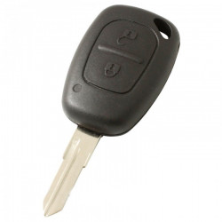 Renault 2-knops sleutelbehuizing - sleutelbaard punt met elektronica 433MHZ - 7947 transponder (model 1)