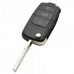 Volkswagen 3-knops klapsleutel - sleutelbaard recht met inkeping met elektronica 433 MHZ - ID48 transponder 1KO959753N