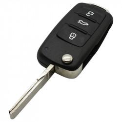 Volkswagen 3-knops klapsleutel - sleutelbaard recht met inkeping met elektronica 434 MHZ en transponder (nieuwere modellen) - 5K0837202AD
