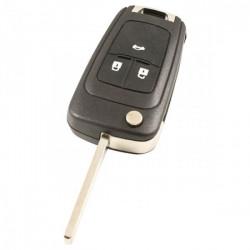 Chevrolet 3-knops klapsleutel - sleutelbaard recht met elektronica 433MHZ - PCF7937E transponder