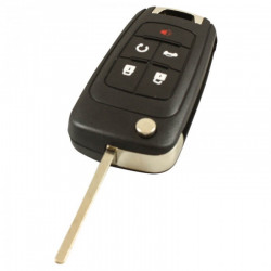 Chevrolet 4-knops klapsleutel met paniek knop - sleutelbaard recht met elektronica 434MHZ - PCF7952 transponder