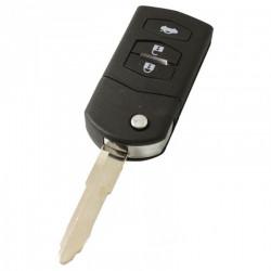 Mazda 2 en Mazda 6: 3-knops klapsleutel - sleutelbaard punt met inkeping rechts elektronica 433MHZ - ID63 transponder