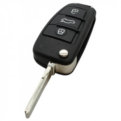 Audi 3-knops klapsleutel - sleutelbaard recht met elektronica 434MHZ - ID48 transponder - 8P0837220D