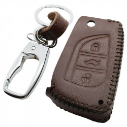 Toyota 3-knops klapsleutel sleutelhoes - bruin