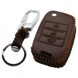 Kia 3-knops klapsleutel sleutelhoes - bruin