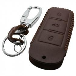 Volkswagen 3-knops smart key sleutelhoes - bruin