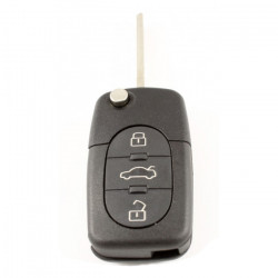 Audi 3-knops klapsleutel - sleutelbaard recht met inkeping zijkant - 2 batterijen (model 2)