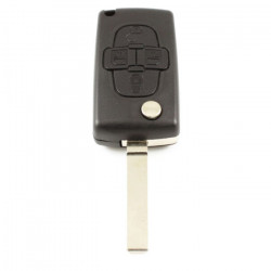 Peugeot 4-knops klapsleutel - sleutelbaard recht - batterij op chip