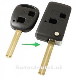 Lexus 2-knops klapsleutel - sleutelbaard recht met inkeping midden - ombouwset