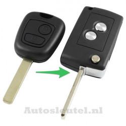 Peugeot 2-knops klapsleutel - sleutelbaard recht (ombouwset)
