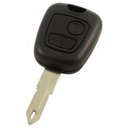 Peugeot 2-knops sleutelbehuizing - sleutelbaard punt met opening met elektronica 433MHZ - ID46 transponder