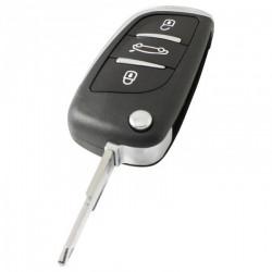 Peugeot 3-knops klapsleutel - sleutelbaard punt met opening - batterij in behuizing
