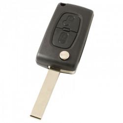 Peugeot 2-knops klapsleutel - sleutelbaard recht met inkeping zijkant - batterij op chip