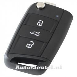 Volkswagen 3-knops klapsleutel - sleutelbaard recht met inkeping zijkant met elektronica 433MHZ - ID48 transponder (voor Golf 7)