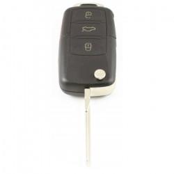 Volkswagen 3-knops klapsleutel met paniek knop - sleutelbaard inkeping zijkant (model 2)