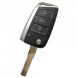 Volkswagen 3-knops klapsleutel - sleutelbaard recht met inkeping zijkant (oa Golf 7)