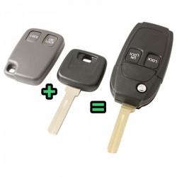 Volvo 2-knops klapsleutel - sleutelbaard recht met inkeping (ombouwset)
