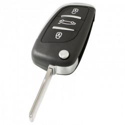 Citroën 3-knops klapsleutel - sleutelbaard recht inkeping zijkant - batterij in behuizing